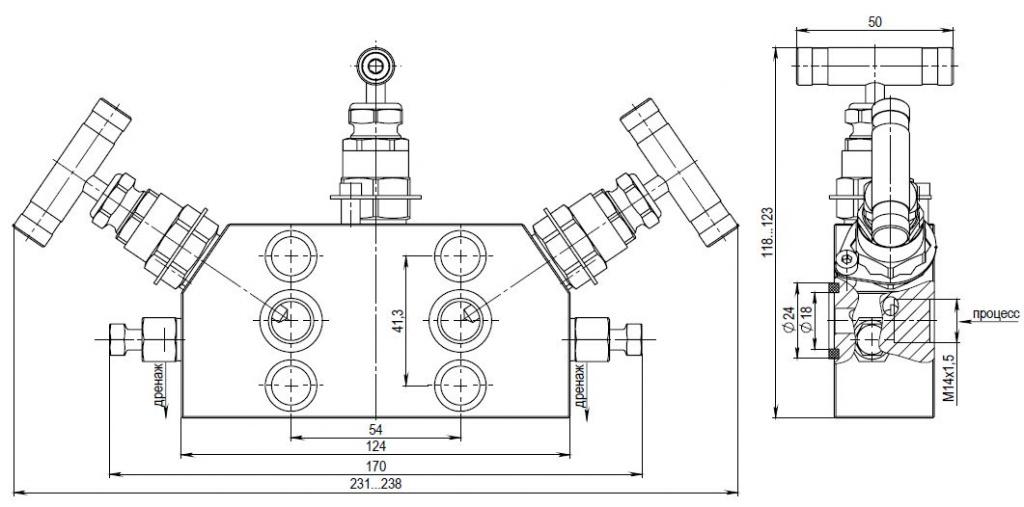Габаритные размеры трехвентильного блока с дренажом KIPVALVE MV302-P1F.M16.TB.08Х18Н10
